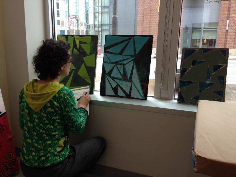 Lori Waxman at work.