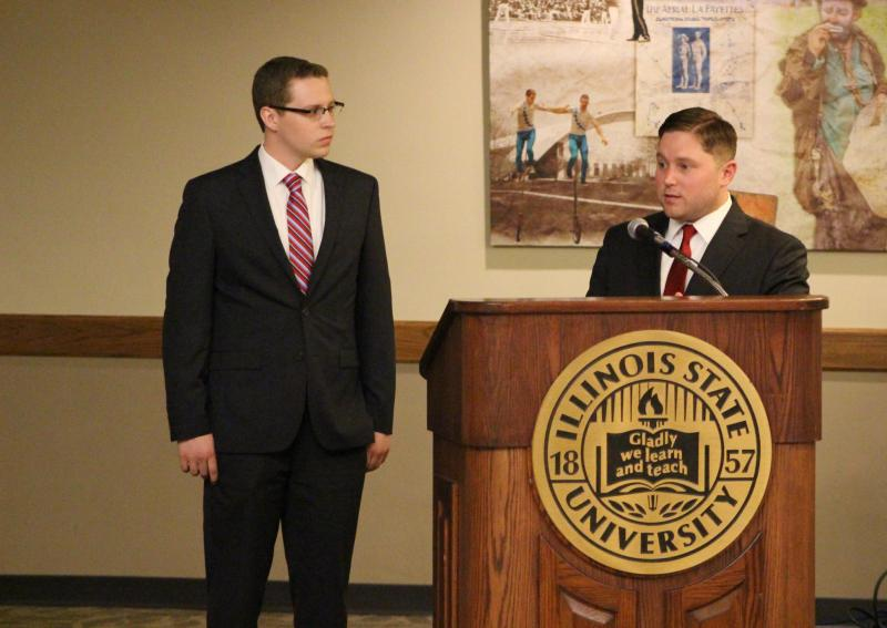 Vice President of ISU College Republicans Austin Bertschy (right) address the committee alongside President of ISU College Democrats Joe Gorski (left)