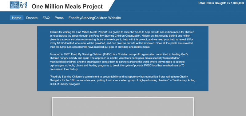 Screen shot of the front page of the onemillionmealsproject.com