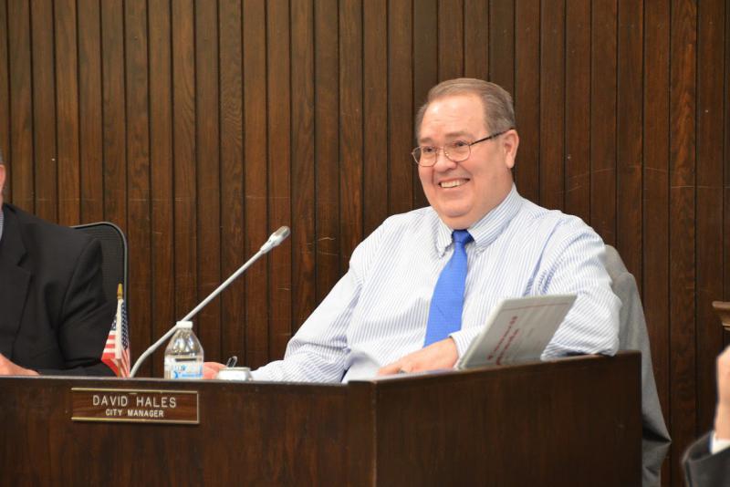 Bloomington City Manager David Hales at a council meeting.
