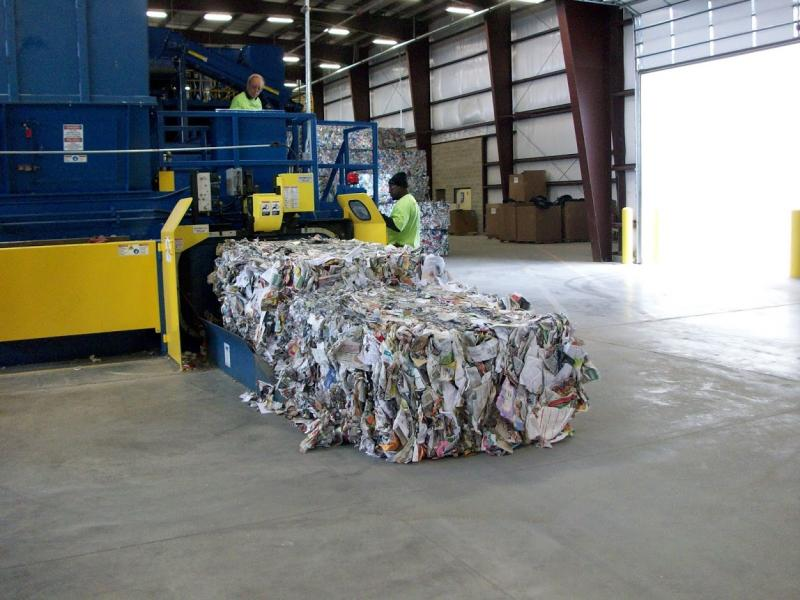 Recycled paper being baled at Midwest Fiber.
