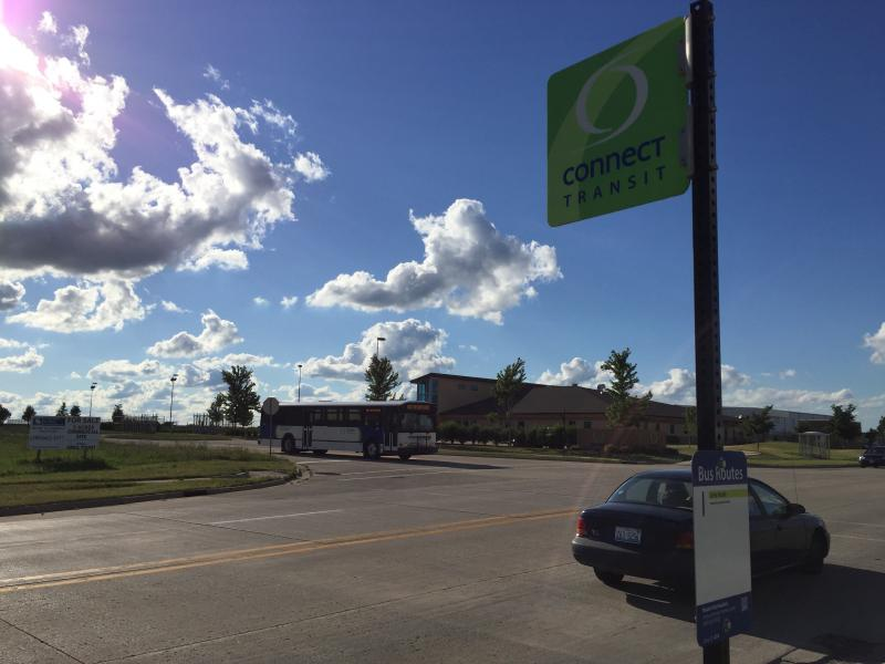 A Connect Transit bus stop near the agency's headquarters on Wylie Drive in Normal.