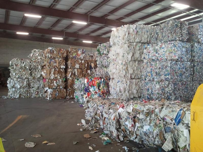 Bales of recycled materials ready for shipment at Midwest Fiber.