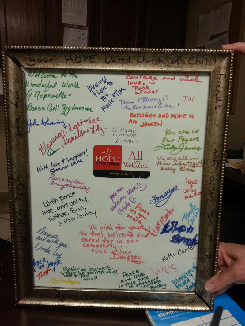 Members of the Hope United Church of Christ in Naperville sent the local mosque this poster of support.
