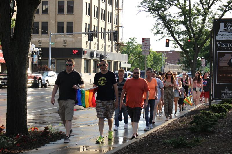 The march continued around the former McLean County Courthouse.