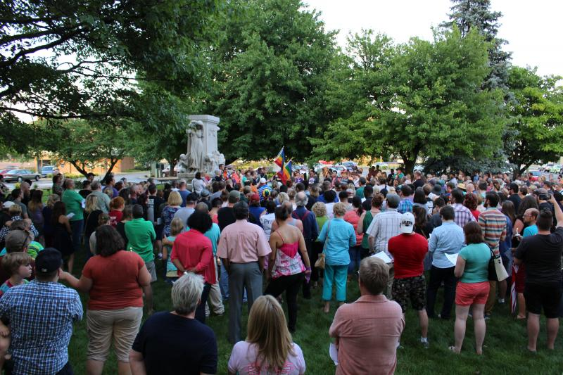 The crowd gathered at Withers Park in Bloomington.