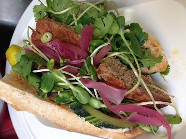 Southeast Asian-style sandwhich on housemade baguette.