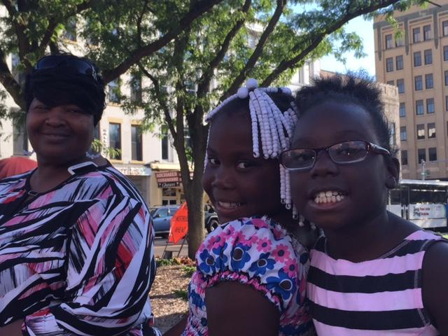 Mother Mayreen Johnson and two daughters, ages 7 and 8