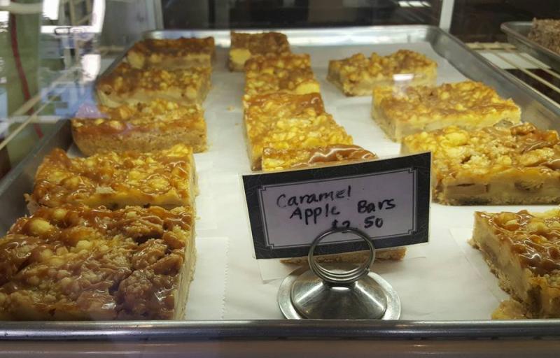 Carmel Apple Bars behind glass