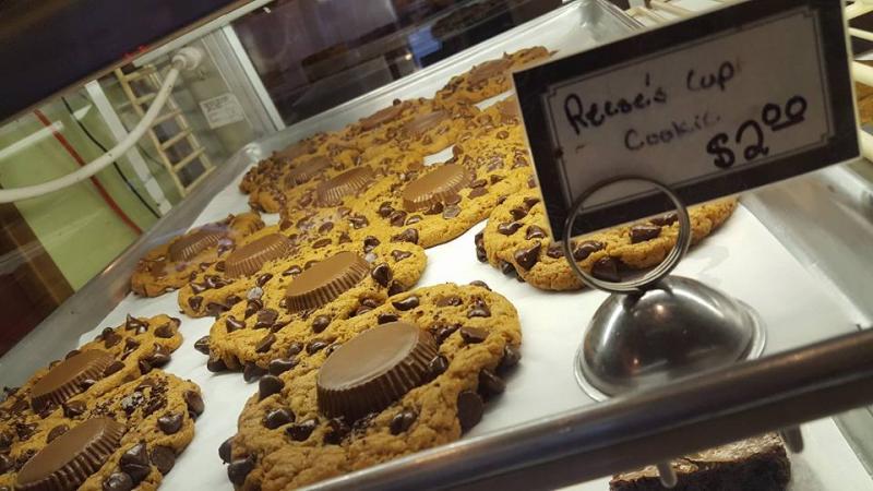 Cookies behind deli case glass