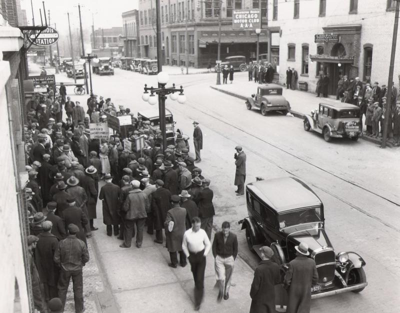 Unemployed Council rally in Bloomington ca. 1932