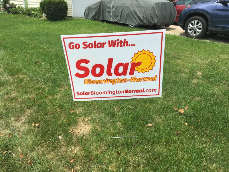 Solar Bloomington-Normal sign on the Packard's lawn