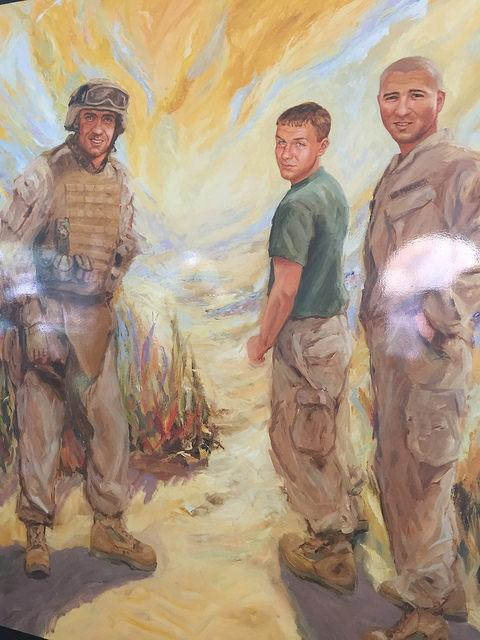 Artist portrait of three soldiers who were among 22 from the same unit who died in Iraq.