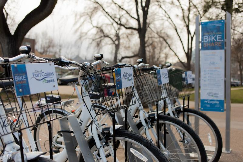 A Zagster bike station in Fort Collins, Colo.