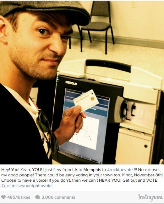 Justin Timberlake in a voting booth