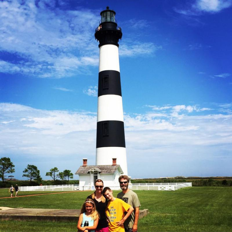 The Pritts family at a lighthouse on the Outerbanks in North Carolina.