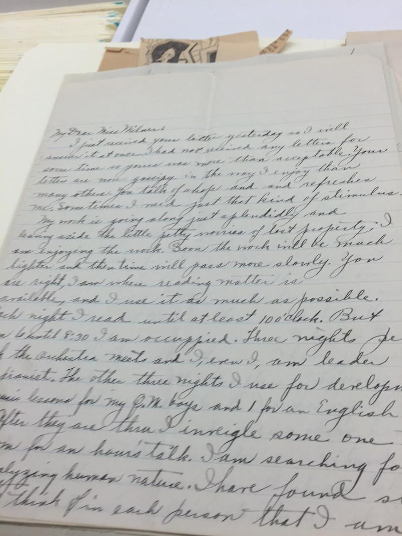Letter to Ange Milner, ISU's first librarian.