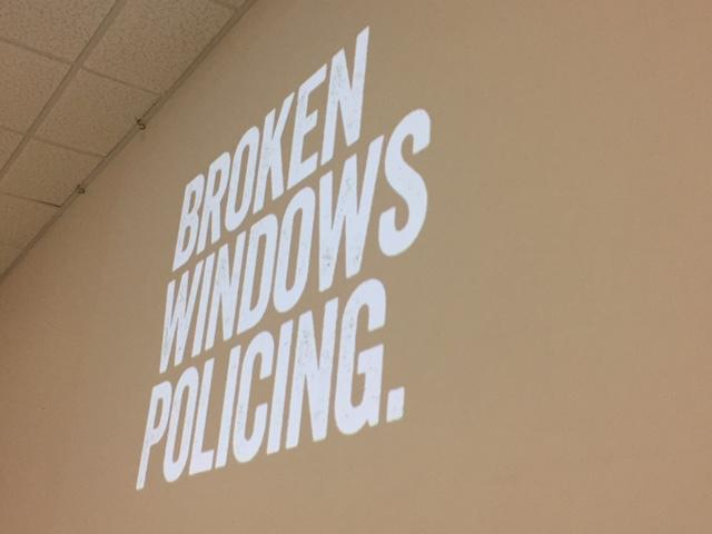 Slide that reads Broken Window Policing
