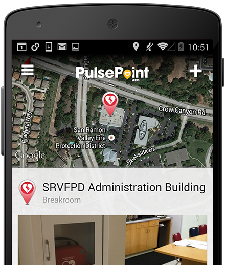 Smart Phone screen shot showing location of AED at a building location