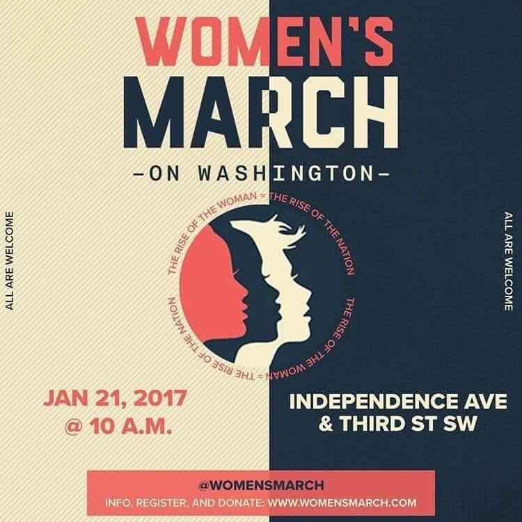 Logo with three women cheek against cheek and details about the Women's March on Washington D.C. Jan. 1