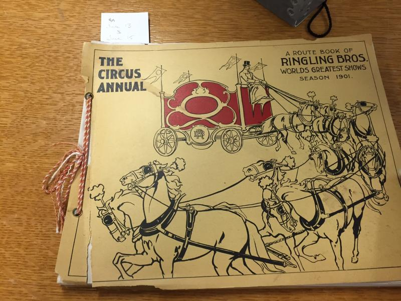Circus route book from the turn of the 20th century.