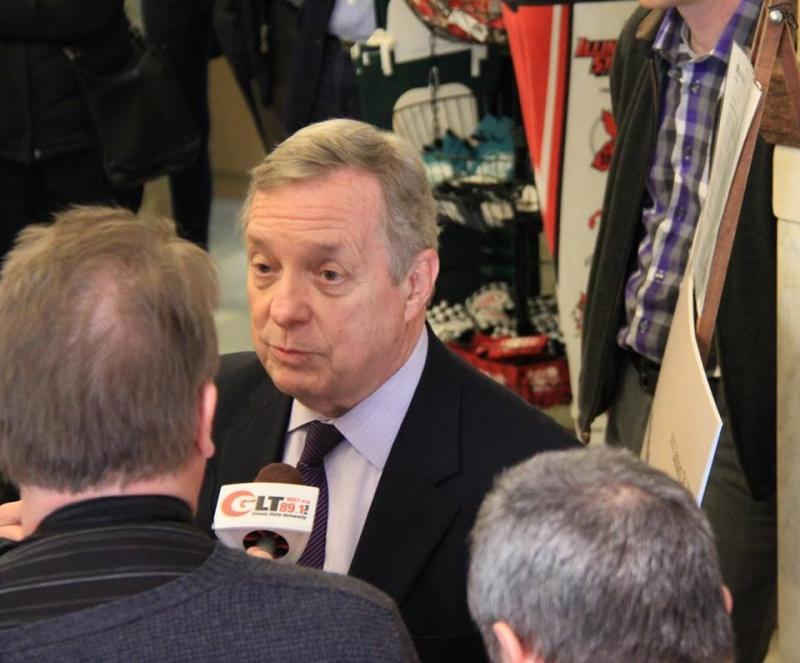 U.S. Sen. Dick Durbin talks with Charlie Schlenker.