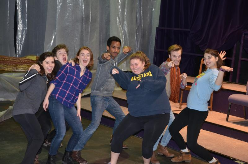 "The cast of ""Rosencrantz and Guildenstern Are Dead"" in rehearsal."