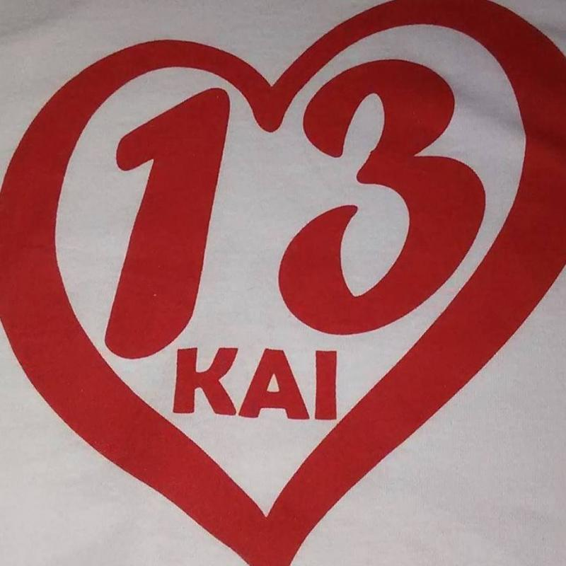 This is the front of the shirt for the Bates-Diop AED fundraiser. It has Kai's name and jersey number on the front.