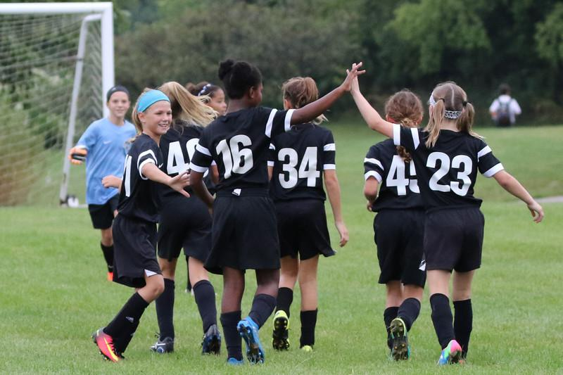 Girls celebrating on soccer field