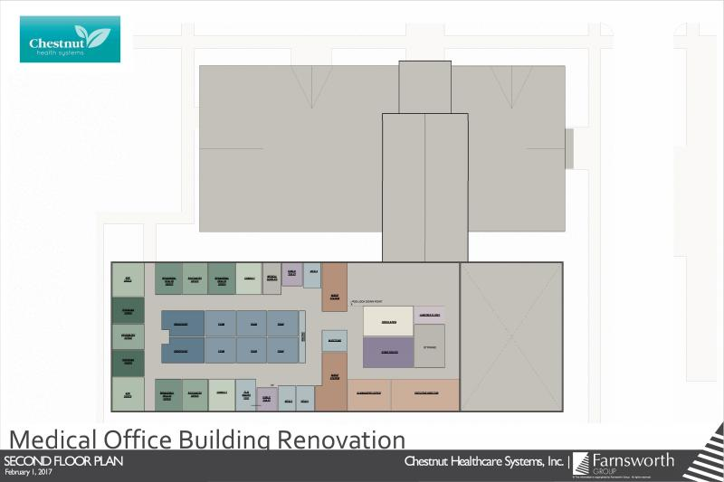 Second Floor design for the new Chestnut Family Health Center