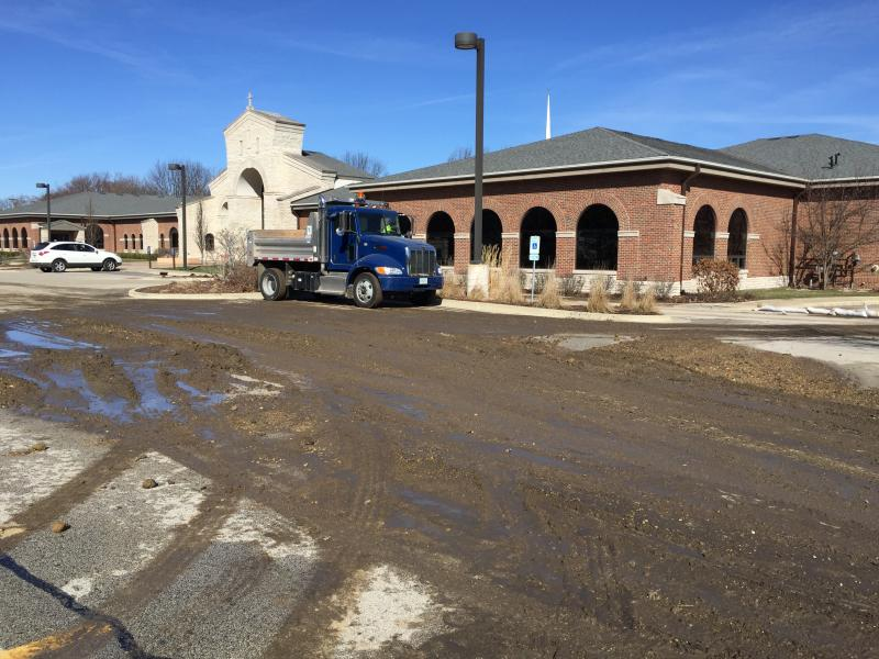 Mud covering the Epiphany parking lot also flowed into the school.