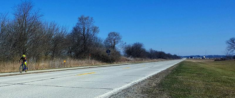 Gervias on a training ride south of Bloomington along old Route 66.