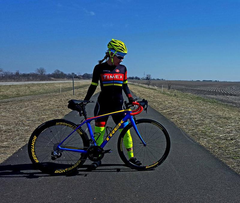 Gervais with her Trek Domane Race Shop Limited endurance bike, posing on the side path along old Route 66 south of Bloomington on Saturday.