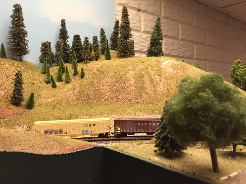 Dave creates landscapes for his trains to travel through.
