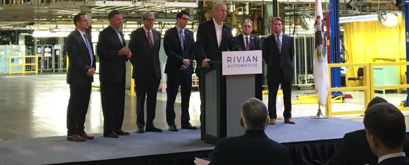 Governor Bruce Rauner speaking to the crowd at Rivian's Welcoming Ceremony.