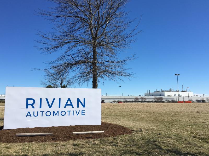 Sign outside the Rivian Automotive facility.