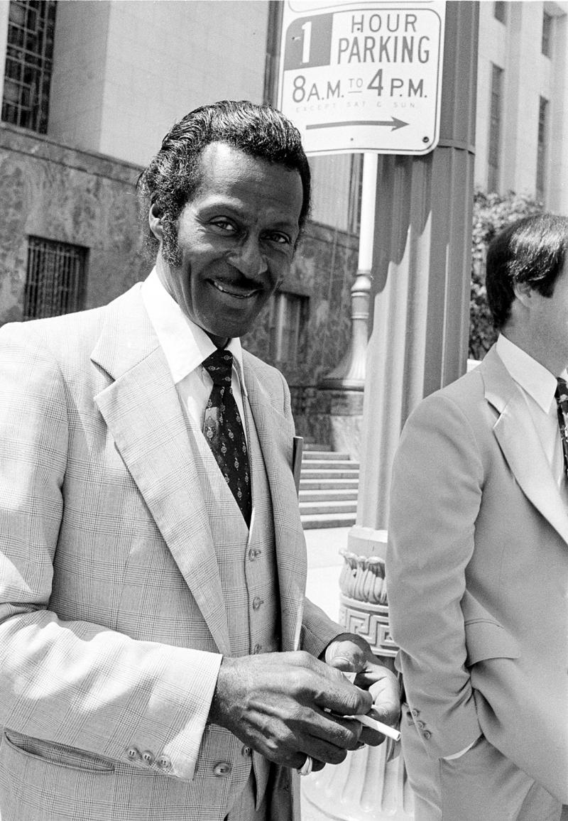 Rock and roll musician Chuck Berry walks out of Los Angeles Federal Court, Ca., July 10, 1979. Berry was sentenced to 120 days in prison and 1,000 hours of community service after pleading guilty to evading federal taxes of about $200,000 in 1973.