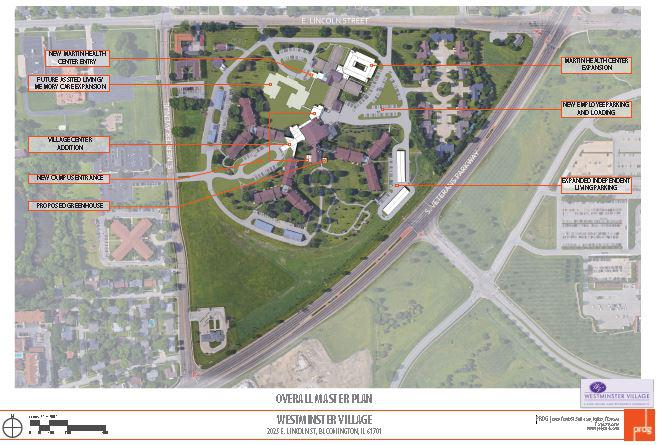 This is an aerial depiction of the Westminster Village grounds on the south side of Bloomington.