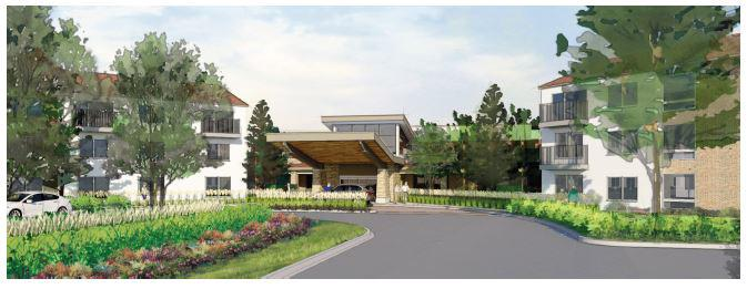 This is an architectural rendering of the new entrance for Westminster Village planned off Mercer Avenue.