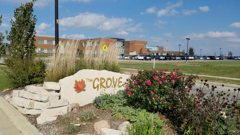 An entrance to The Grove near Benjamin Elementary School.