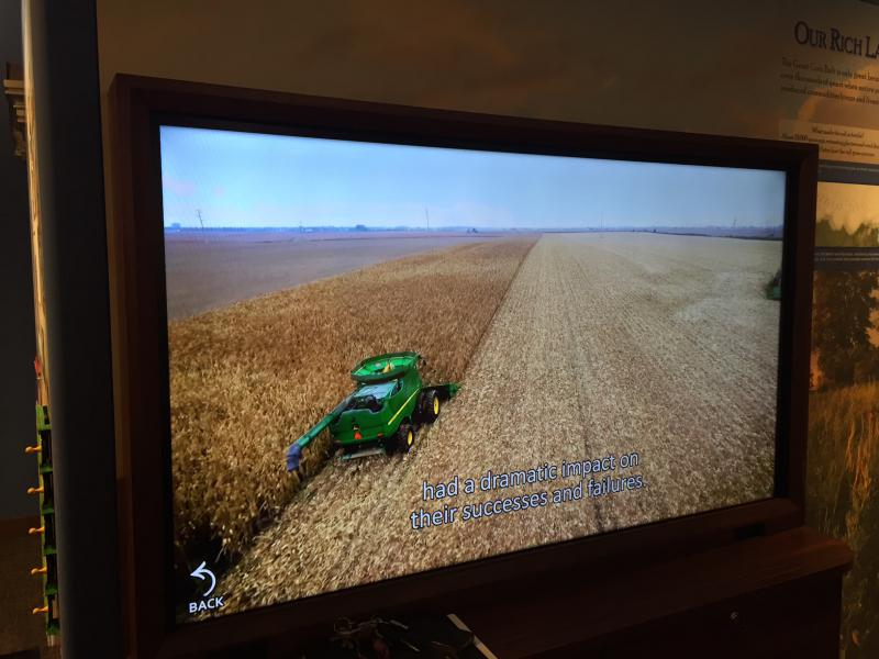 Digital touch screens help tell the farming history of this county.
