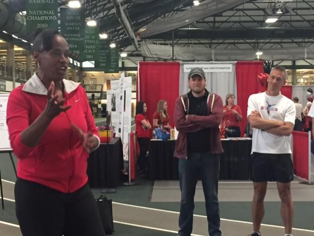 Olympic medalist Jackie Joyner Kersee at the Illinois Wesleyan University Shirk Center