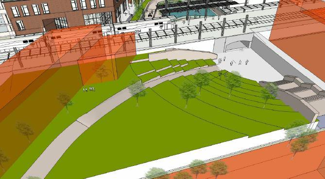 Architect's drawing of a park and railroad tracks south of Uptown Station in Normal.