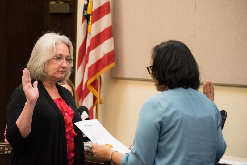 Alderman Joni Painter retained her seat on the Bloomington Council after a challenge in the April contest.