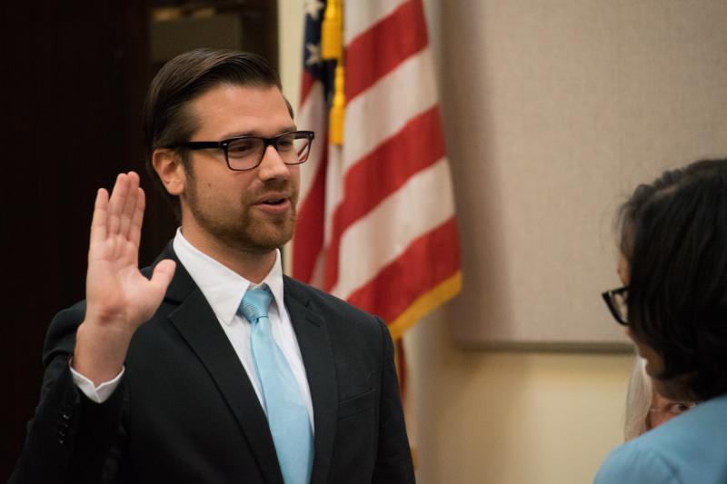 Alderman Scott Black takes the oath of office for the 7th ward.