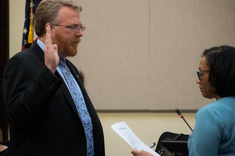 Jamie Mathy won a seat on the Bloomington Council in the April election.