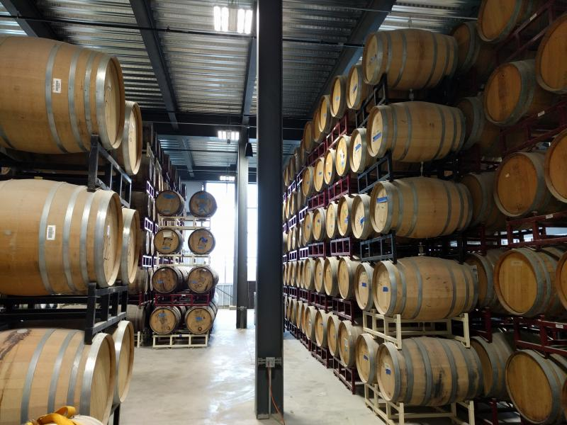The Barrel Room for Destihl holds beer to finish aging after the brewing process.