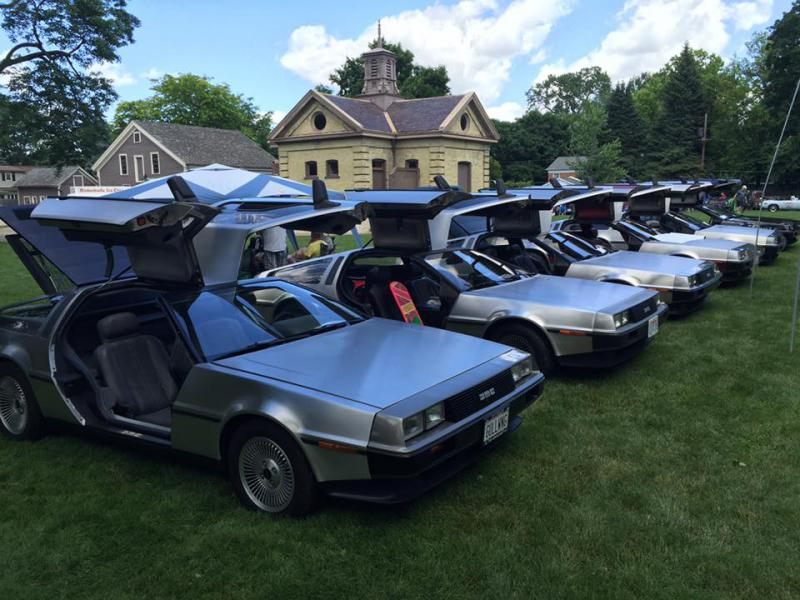 No mistaking THIS car for a Chevy! A half dozen DeLorean models, lined up at the 2016 Champagne British Car Festival on the grounds of the David Davis Mansion