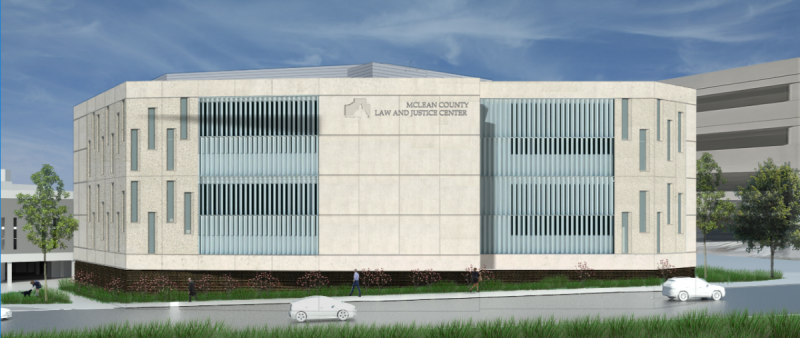 This rendering views the jail expansion from the east.