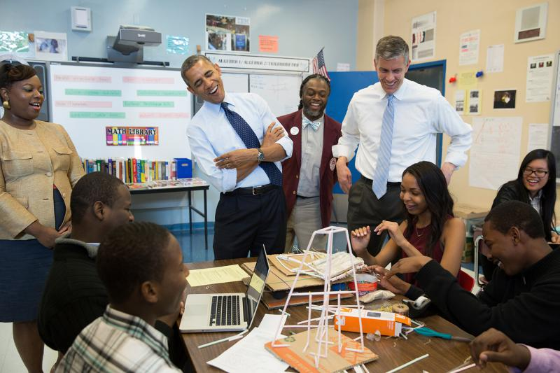 Former President Barak Obama and former Education Secretary Arne Duncan visit a New York school.  An array of services exist to aid students with behavioral difficulties.
